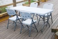 6 Foot White Folding Picnic / Party Table & 4 Chairs
